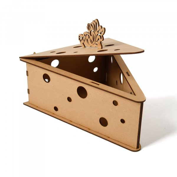 Cheese Wedge Shaped Wooden Box for Storage