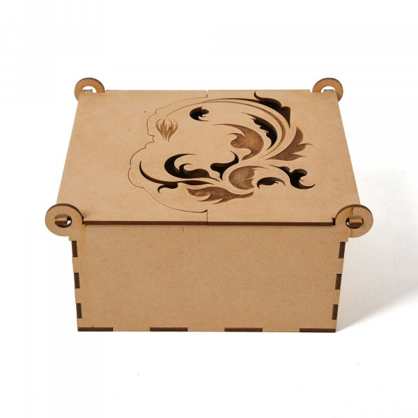 Wooden Box With Four Removable Partitions