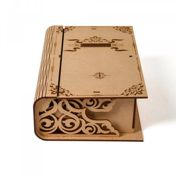 Book Shaped Engraved Wooden Box For Gifting