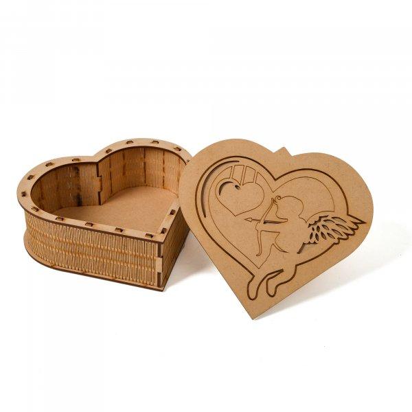 Heart Shaped Engraved Wooden Box