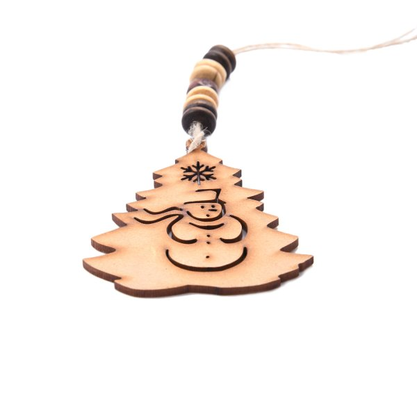 Snowman Engraved on Christmas Tree Wooden