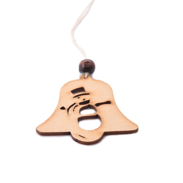 Wooden Christmas Tree Bell With Snowman Engraved