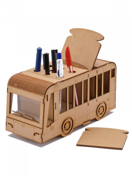 Pen Stand with Dining Coasters (Set of 4) Bus Shaped