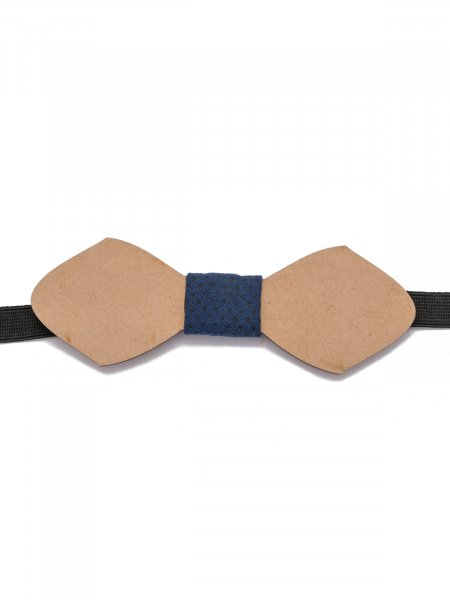 Navy Blue Wooden Bow Tie