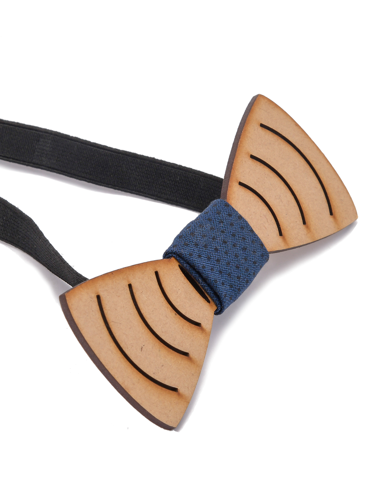 Bow Tie Wooden With Lines Engraved