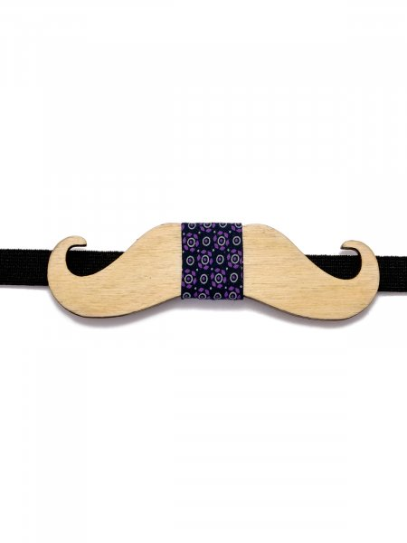 Wooden Moustache Printed Bow tie