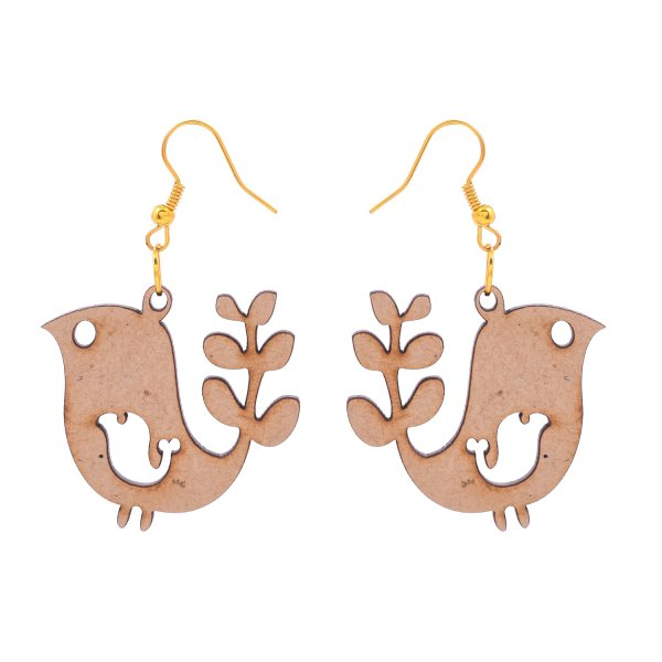 Wooden Bird With Leaf Shape Earring