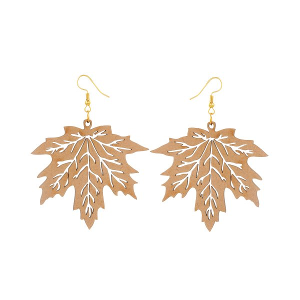 Wooden Maple Shape Earring