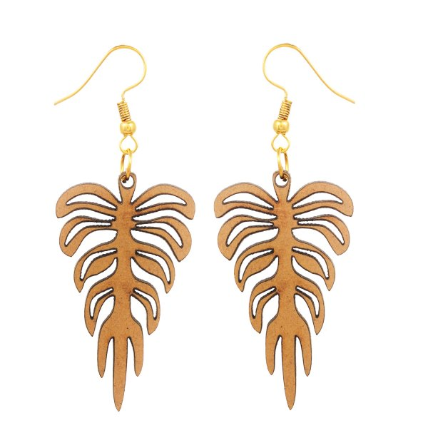 wooden Group of Leaf Shape Earring
