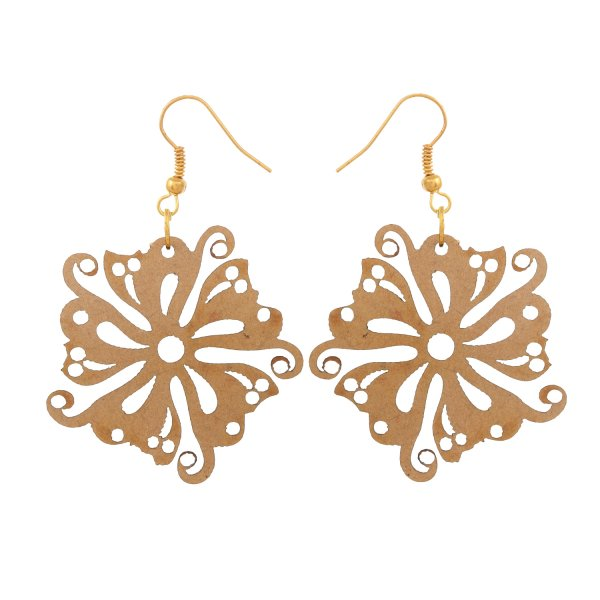 Wooden Cat Face in Flower Shape Earring