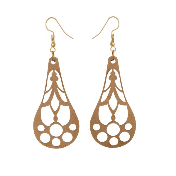 Wooden Water Drop Shape Earring