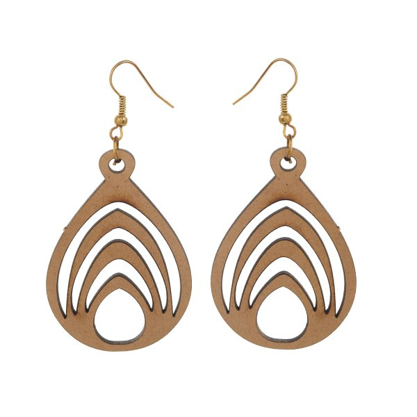 Wooden Oval Shape Earring