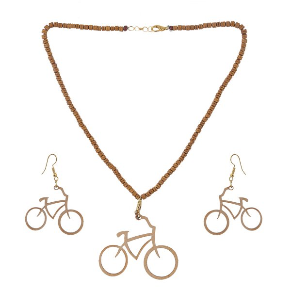 Bicycle Shape Wooden Jewellery Set