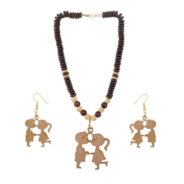 Boy and Girl Wooden Pendant Set