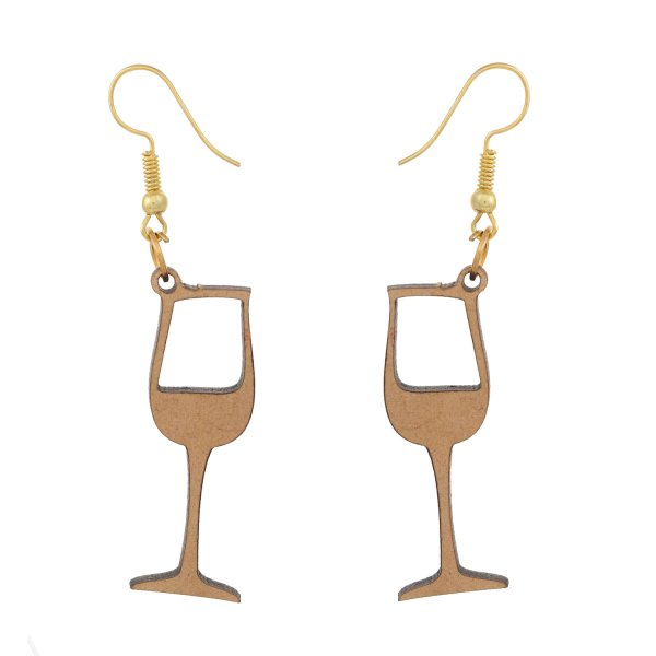 Beer Glass Shape Wooden Jewellery Set