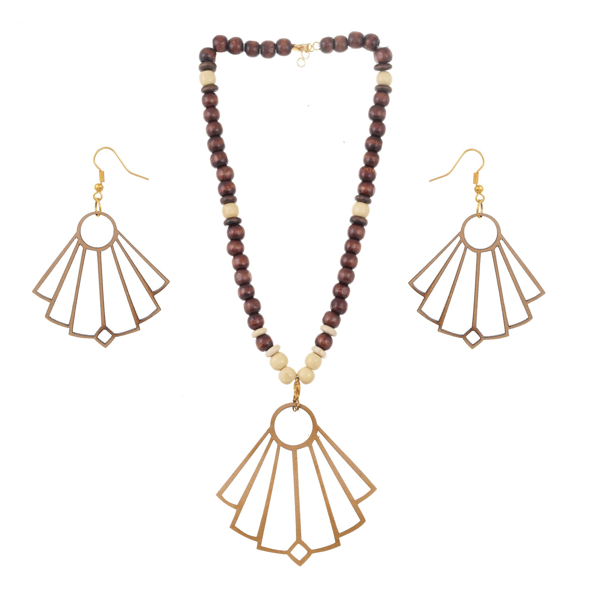 Japanese Fan Shape Wooden Jewellery Set