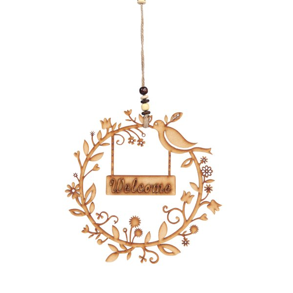 Welcome Engraved Birds on Wood for Tree Decoration