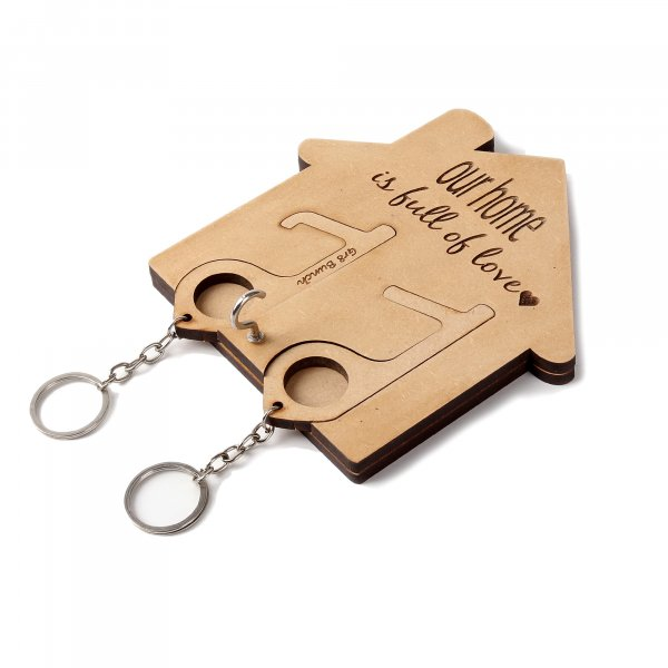 Hut Wooden Keychain Holder with Two Keyring ( Pullout )