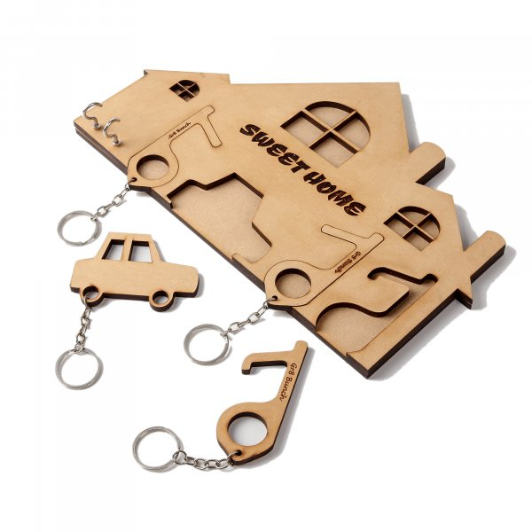 Pullout House Keychain Holder with Three Covid Keys