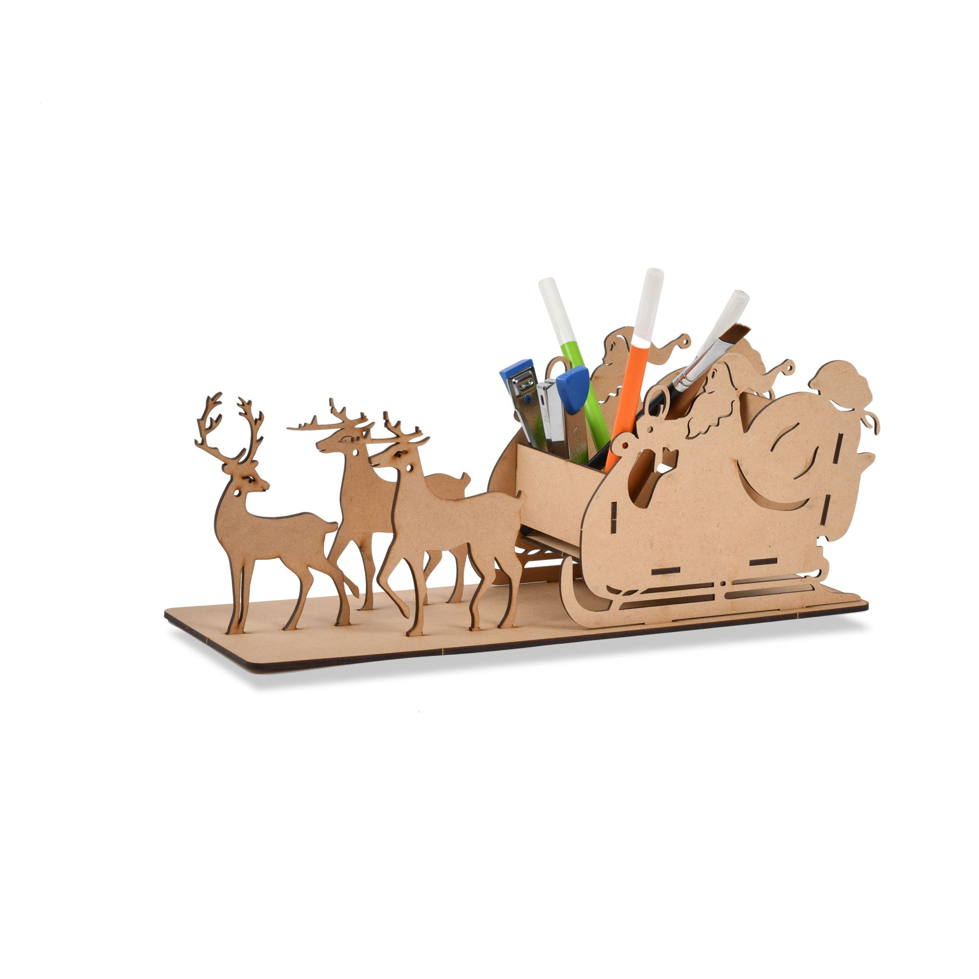 Wooden Santa's Sleigh Pen & Pencil Stand (Wooden)