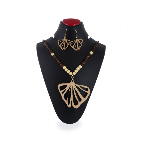 Butterfly Leaf Shape Wooden Pendant Set