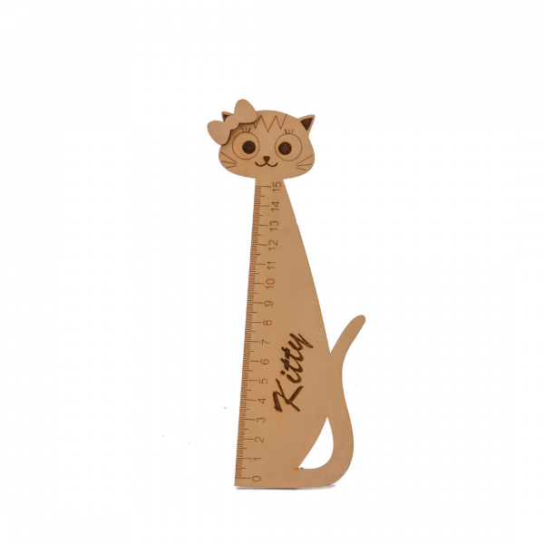 Cat Shape Wooden Ruler/ Scale 6""
