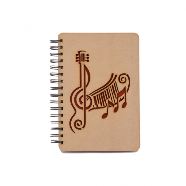 Guitar with Musical Notes on Wooden Diary/Notebook